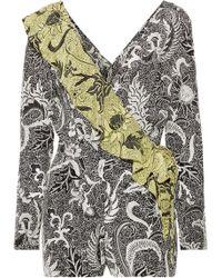 Diane von Furstenberg - Ruffled Wrap-effect Printed Silk Crepe De Chine Playsuit - Lyst