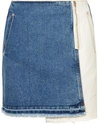 SJYP - Distressed Patchwork Denim Mini Skirt - Lyst