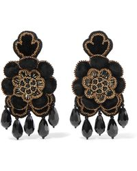 Etro - Crystal, Bead And Velvet Clip Earrings - Lyst