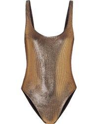 Marie France Van Damme - Metallic Ribbed Swimsuit - Lyst