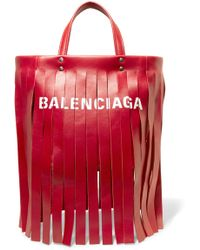 Balenciaga - Fringed Printed Leather Tote - Lyst