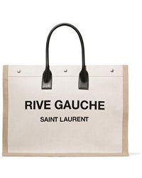 Saint Laurent - Women's Rive Gauche Linen Tote - Beige - Lyst
