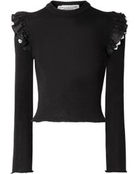 Philosophy Di Lorenzo Serafini - Ruffled Broderie Anglaise-trimmed Ribbed Wool Sweater - Lyst