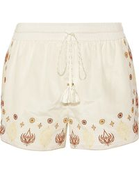 Rachel Zoe - Stephanie Embroidered Cotton And Silk-blend Voile Shorts - Lyst