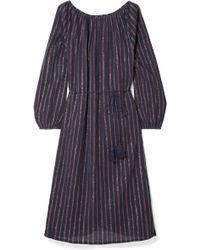 Mes Demoiselles - Esmeralda Lyrical Striped Metallic Cotton-blend Dress - Lyst