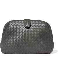 Bottega Veneta - Lauren Metallic Intrecciato Leather Clutch - Lyst