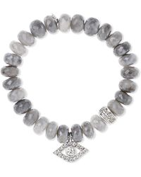 Sydney Evan - Evil Eye Silverite, Diamond And 14-karat White Gold Bracelet - Lyst