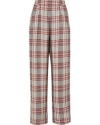 Markus Lupfer - Molly Checked Crepe Trousers - Lyst