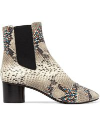 Isabel Marant | Danelya Python-effect Leather Ankle Boots | Lyst