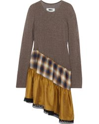 MM6 by Maison Martin Margiela - Asymmetric Lace-trimmed Open-knit, Plaid Cotton And Washed-satin Dress - Lyst