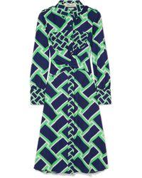 Diane von Furstenberg - Printed Cotton Midi Dress - Lyst