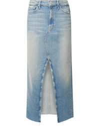Mother - The Altered Sacred Frayed Denim Midi Skirt - Lyst