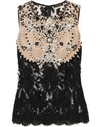 Reem Acra - Crystal-embellished Corded Lace And Tulle Top - Lyst