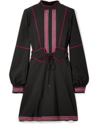 Anna Sui - Belted Embroidered Crepe Mini Dress - Lyst