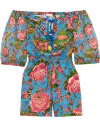 Anjuna - Charlee Floral-print Cotton-voile Playsuit - Lyst