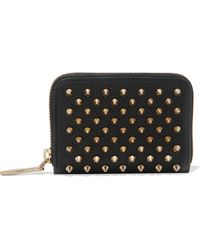 Christian Louboutin | Panettone Spiked Textured-leather Wallet | Lyst