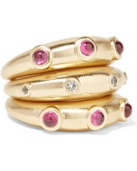 Elizabeth and James | Phoenix Set Of Three Gold-plated Crystal Rings | Lyst