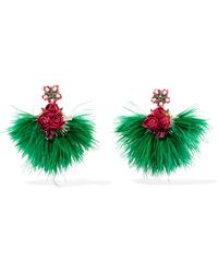 Ranjana Khan - Swan Feather, Mother-of-pearl And Crystal Clip Earrings - Lyst