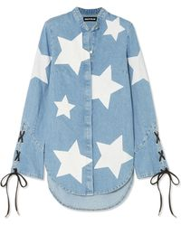 House of Holland - Faux Leather-trimmed Printed Denim Shirt - Lyst