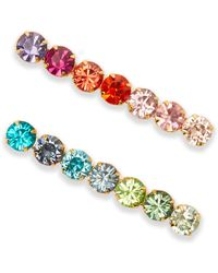 LELET NY - Set Of Two Gold-plated Swarovski Crystal Hair Slides Gold One Size - Lyst
