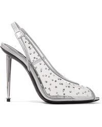 Tom Ford - Embellished Pvc And Metallic Leather Slingback Pumps - Lyst