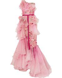 Marchesa - Strapless Appliqué Ombré Organza Gown - Lyst
