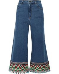 Alice + Olivia - Beta Cropped Embroidered High-rise Wide-leg Jeans - Lyst