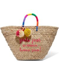 Kayu - St Tropez Pompom-embellished Embroidered Woven Straw Tote - Lyst