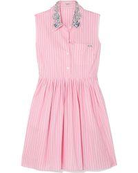 Miu Miu | Embellished Striped Cotton-poplin Mini Dress | Lyst