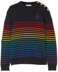 J.W.Anderson - Embroidered Striped Wool Sweater - Lyst