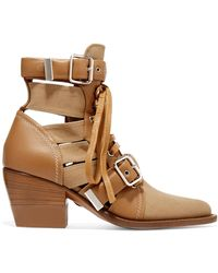 Chloé | Rylee Cutout Leather And Canvas Ankle Boots | Lyst