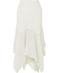 Ganni - Wilkie Striped Silk And Cotton-blend Seersucker Midi Skirt - Lyst