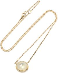 Brooke Gregson - Orbit Halo 18-karat Gold, Moonstone And Diamond Necklace - Lyst