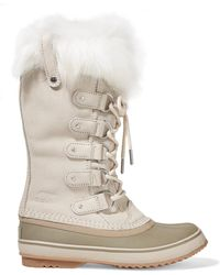 Sorel - Joan Of Arctic Faux Fur-trimmed Waterproof Suede And Rubber Boots - Lyst