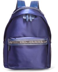 Stella McCartney - The Falabella Go Faux Leather-trimmed Satin Backpack - Lyst