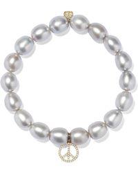 Sydney Evan - Peace Sign Pearl, Diamond And 14-karat Gold Bracelet - Lyst