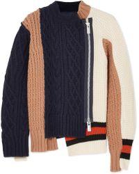 Sacai - Color-block Paneled Wool-blend Cardigan - Lyst