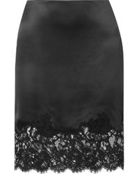Givenchy - Cotton-blend Lace-trimmed Silk-satin Skirt - Lyst