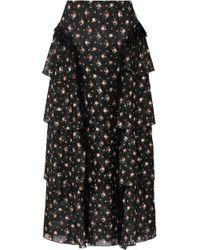 Anna Sui - Lace-trimmed Tiered Floral-print Devoré-georgette Skirt - Lyst
