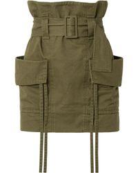 Saint Laurent - Belted Cotton And Ramie-blend Gabardine Mini Skirt - Lyst