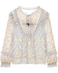 Needle & Thread - Flapper Ruffled Embroidered Tulle Blouse - Lyst