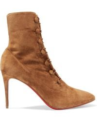 Christian Louboutin - French Tutu 85 Suede Ankle Boots - Lyst