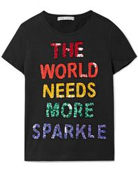 Alice + Olivia - Rylyn Sequin-embellished Cotton-jersey T-shirt - Lyst