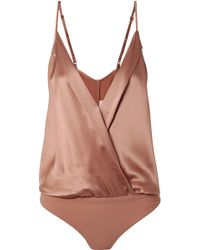 Michelle Mason - Silk-charmeuse And Stretch-jersey Wrap-effect Bodysuit - Lyst