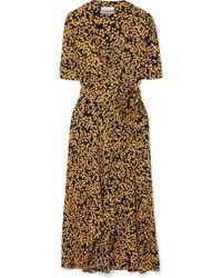 5d0a4135 Ganni - Floral-print Crepe De Chine Wrap Dress - Lyst