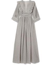 Three Graces London - Adeline Striped Cotton-blend Maxi Dress - Lyst