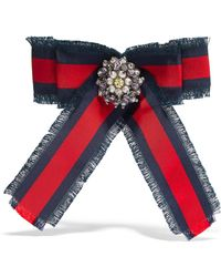 Gucci - Grosgrain, Crystal And Faux Pearl Brooch - Lyst