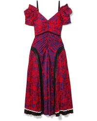 Self-Portrait - Off-the-shoulder Lace-panelled Printed Satin Midi Dress - Lyst