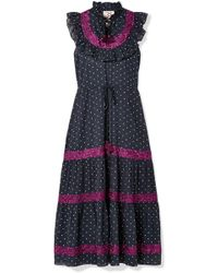 Figue - Lila Ruffle-trimmed Embroidered Polka-dot Cotton-voile Dress - Lyst