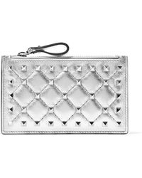 Valentino - The Rockstud Metallic Quilted Leather Pouch - Lyst